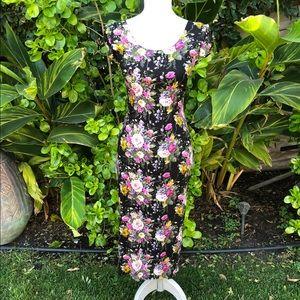 VINTAGE 90's Dark Floral Pencil Dress
